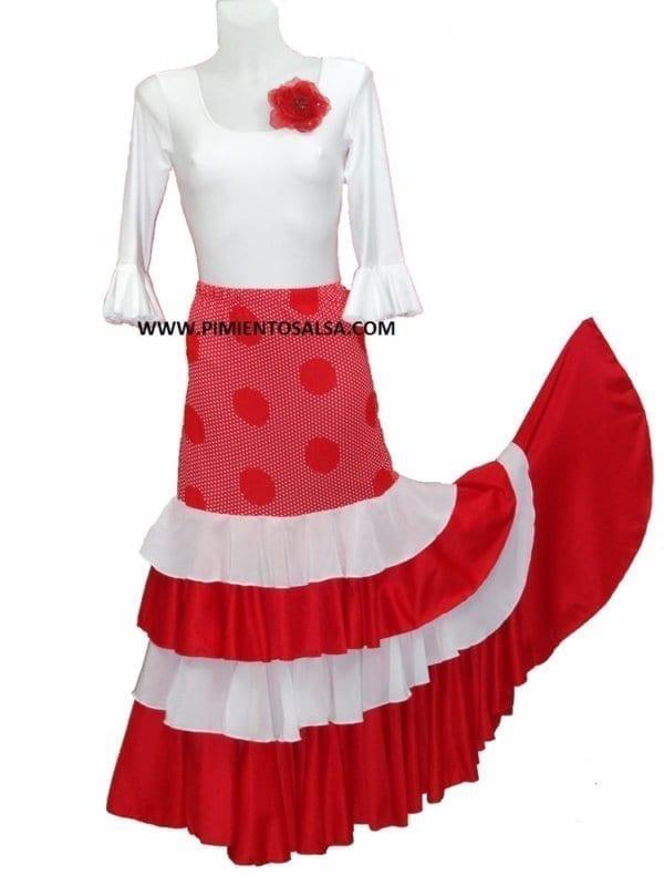 Falda de flamenco a lunares pequeños y grandes