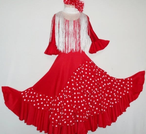 Falda de Flamenco roja a lunares blancos